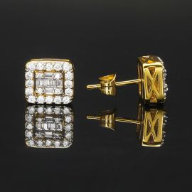 Square Baguette & Round Stones Stud Earring