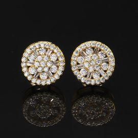 Round Flower Cluster Stud Earring