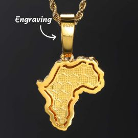 Africa Map Roaring Lion Pendant