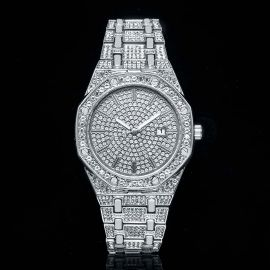 Iced Luxury Stylish Octagon Shaped Dial Watch in White Gold