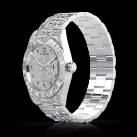 Full Iced Arabic Numerals Date Display Men's Watch in White Gold