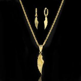 Angel Wings Pendant and Earrings Set in Gold
