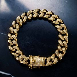 13mm 18K Gold Finish Iced Cuban Bracelet