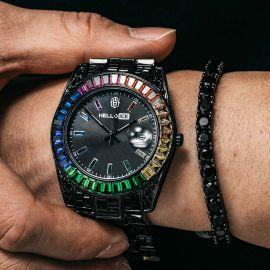 Rainbow Baguette Cut Men's Watch in Black Gold