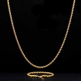 3mm Rope Link Chain Set in Gold