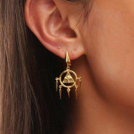 Women's Unique Eye of Horus Dangle Earrings in Gold