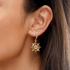 Women's Anchor and Rudder Asymmetric Earrings