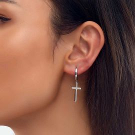 Women's Cross Dangle Earrings in White Gold
