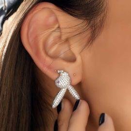 Women's Iced Upside Down Bunny Earrings in White Gold