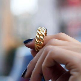 Women's 10mm Cuban Rings in Gold