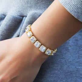 Women's 10mm Iced Baguette Tennis Bracelet in Gold