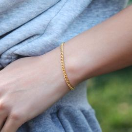 Women's 3mm Cuban Bracelet in Gold