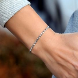 Women's 3mm Cuban Bracelet in White Gold