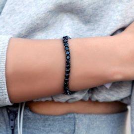 Women's 5mm Black Stones Tennis Bracelet in Black Gold