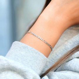Women's 3mm Figaro Bracelet in White Gold