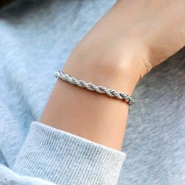 Women's 5mm Rope Bracelet in White Gold