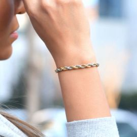 Women's 5mm Gold & Silver Two-Tone Rope Bracelet