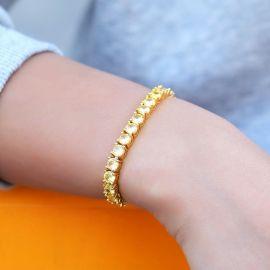 Women's 5mm Fancy Yellow Stones Tennis Bracelet in Gold
