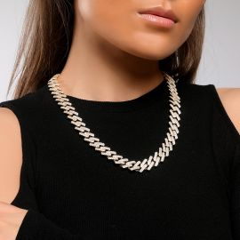Women's Iced 14mm Miami Cuban Chain with Box Clasp in Gold