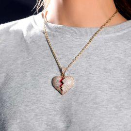 Women's Gold Iced Broken Heart Pendant