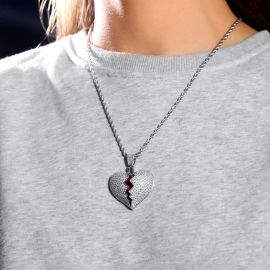 Women's Iced Broken Heart Pendant in White Gold