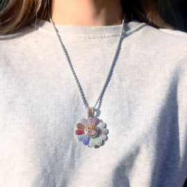 Women's Iced Smile Rotating Sunflower Pendant
