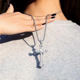 Women's Iced Baguette Diamond Cross Pendant