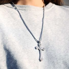 Women's Iced Baguette Diamond Cross Pendant