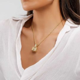 Women's Iced Cube A to Z Letter Pendant in Gold
