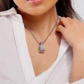 Women's Iced Cube A to Z Letter Pendant in White Gold