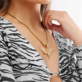 Women's Iced Angel Pendant in Gold