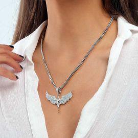 Women's Iced Angel Pendant in White Gold