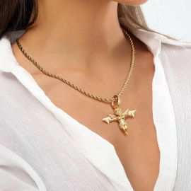 Women's Iced Death Angel Pendant in Gold