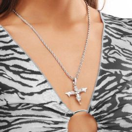 Women's Iced Death Angel Pendant in White Gold