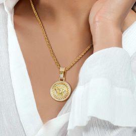 Women's Iced Snake Hair Banshee Pendant in Gold