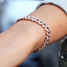Women's 8mm White&Pink Two Tone Cuban Bracelet