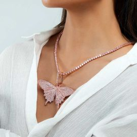 "Women's Pink Butterfly Pendant with 4mm 20"" Tennis Chain Set"