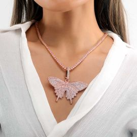 Women's Pink Butterfly Pendant with 4mm 20