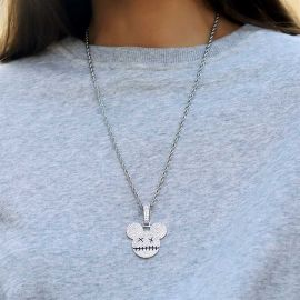 Women's Iced Cartoon Mouse Pendant in White Gold