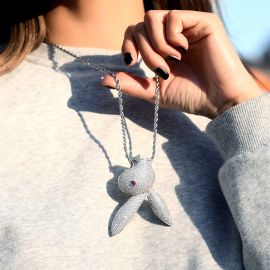 Women's Iced Upside Down Bunny Head Pendant in White Gold