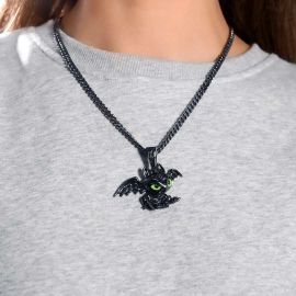 Women's Little Dragon Pendant in Black Gold