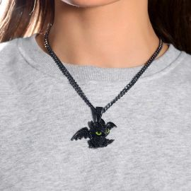 Women's Iced Little Dragon Pendant in Black Gold