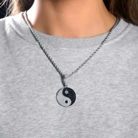Women's Iced Yin Yang pendant in White Gold