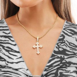 Women's Baguette Stones Christian Cross Pendant in Gold