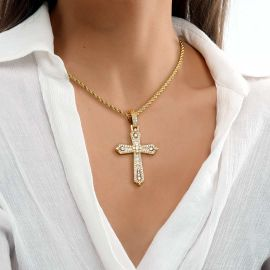 Women's Baguette & Round Stones Cross Pendant in Gold