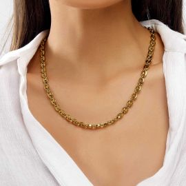 """Women's 7mm 22"""" Stainless Steel Coffee Bean Chain in Gold"""