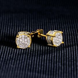 Iced Round Stone Stud Earring