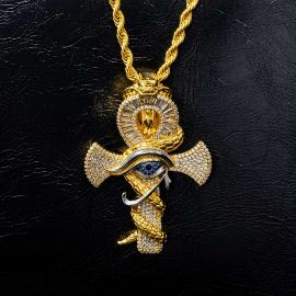 Iced Twisted Snake with Eye of Horus Ankh Pendant in Gold