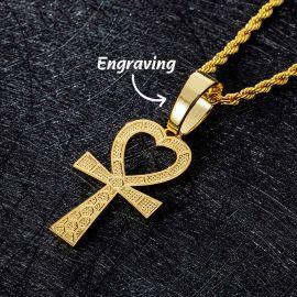 Heart Shape Ankh Cross Pendant in Gold