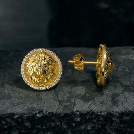 Iced Lion Stud Earrings in Gold